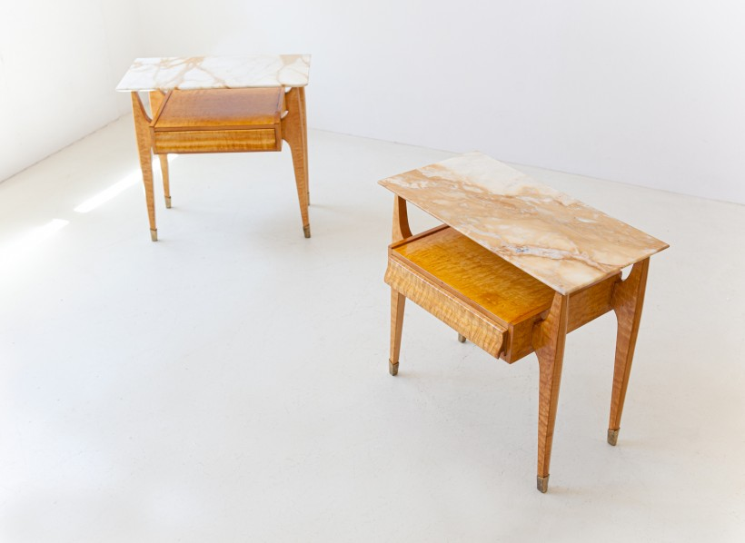 1950 maple and marble bedside tables BT89