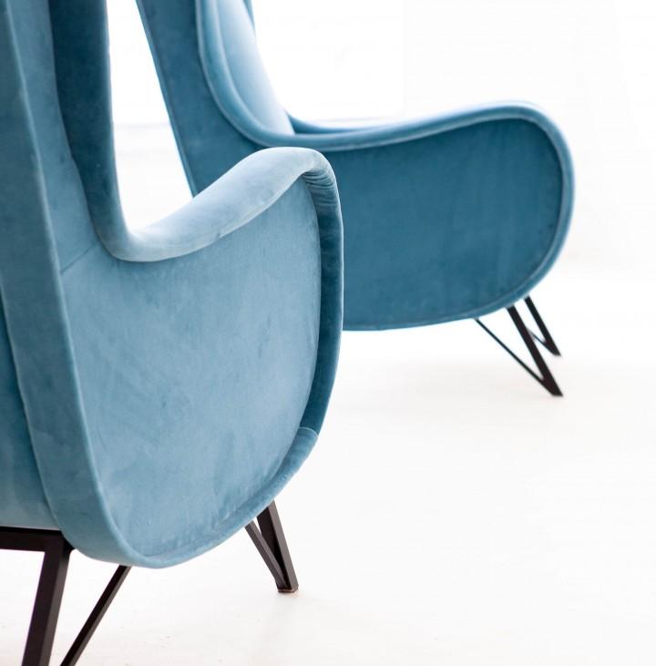 Pair of Rare Italian Light Blue Velvet Lounge Chairs SE302 – Not Available