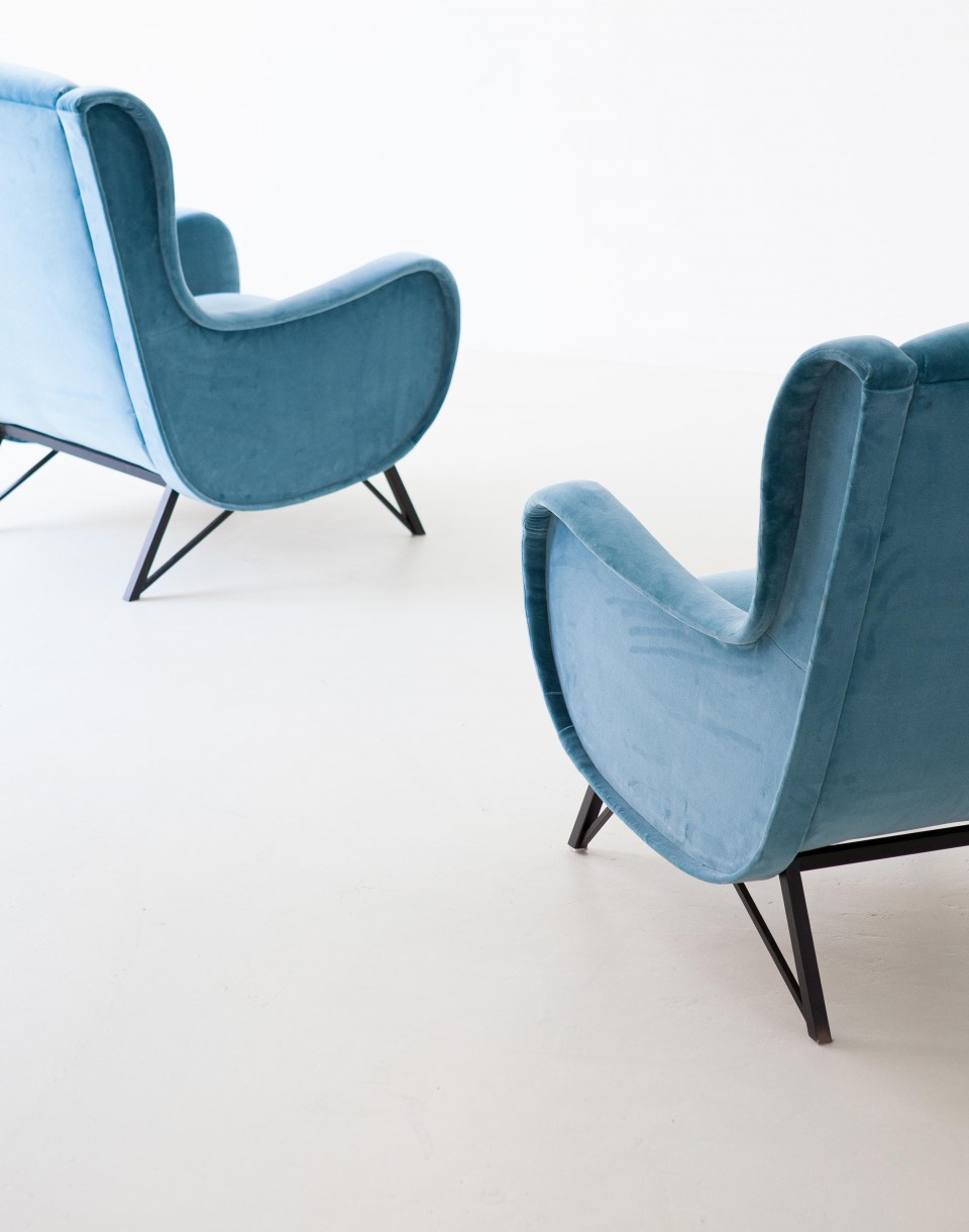 Pair of Rare Italian Light Blue Velvet Lounge Chairs SE302 – Not Available