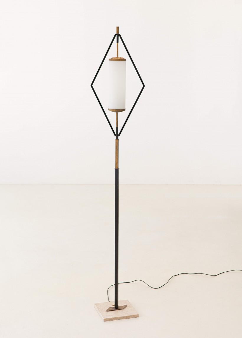 1950s Italian stilnovo brass iron and opaline glass floor lamp L84 – No longer available