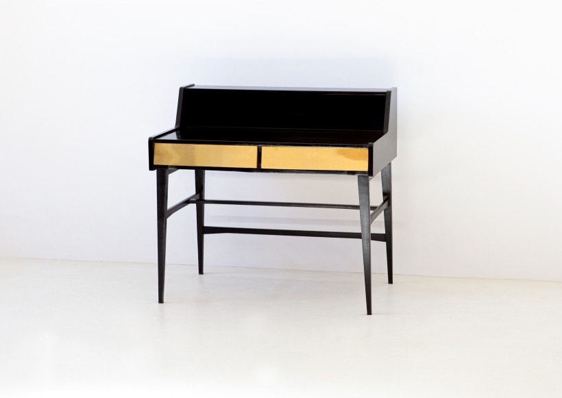 1950s black polished wood and brass desk DT34