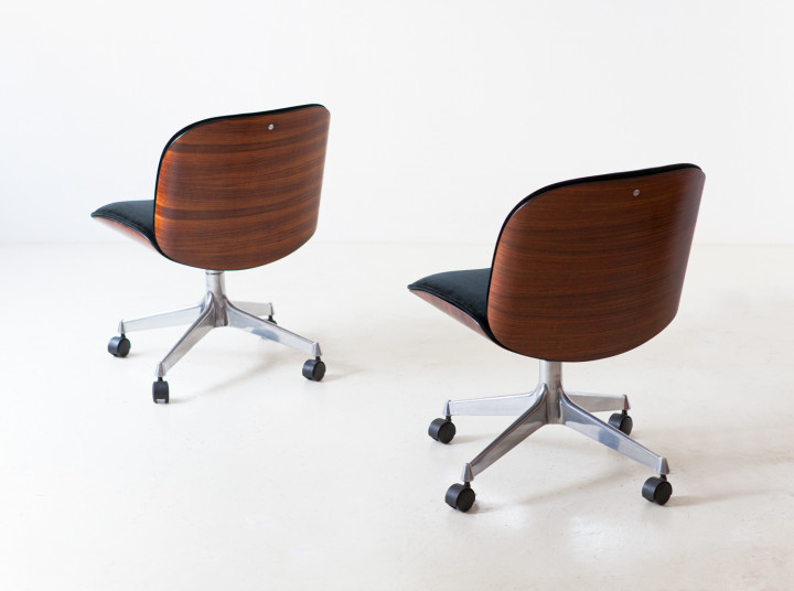 1950s black velvet and rosewood chairs by Ico Parisi for MIM SE248