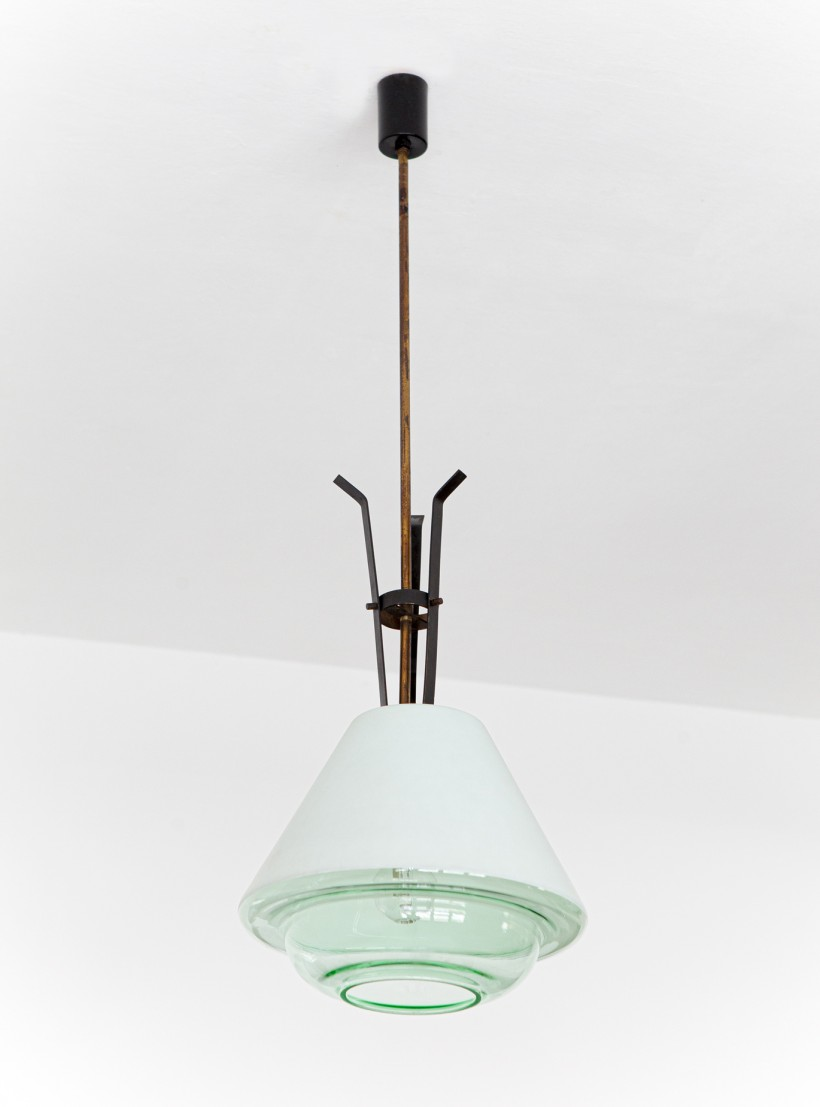 1950s brass and glass pendant lamp by stilnovo L92