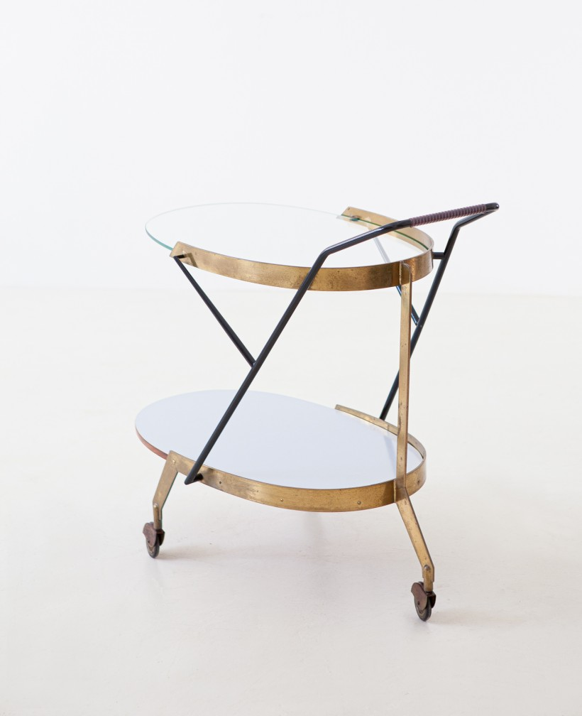 Italian Modern Glass and Brass Bar Cart, 1950s OF103