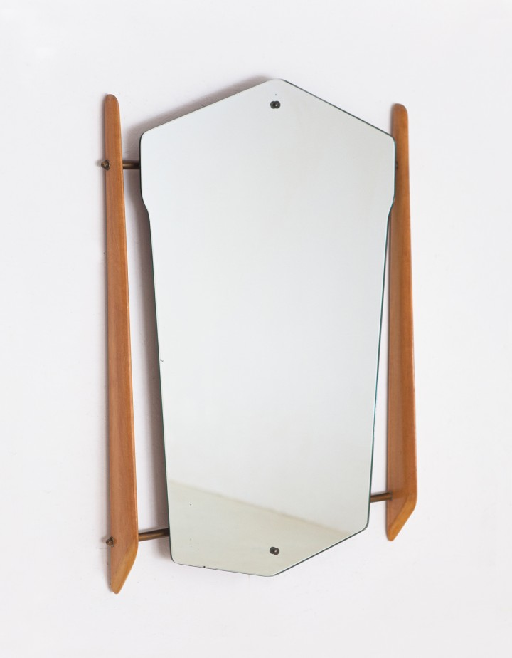 1950s brass and maple wood mirror OF112
