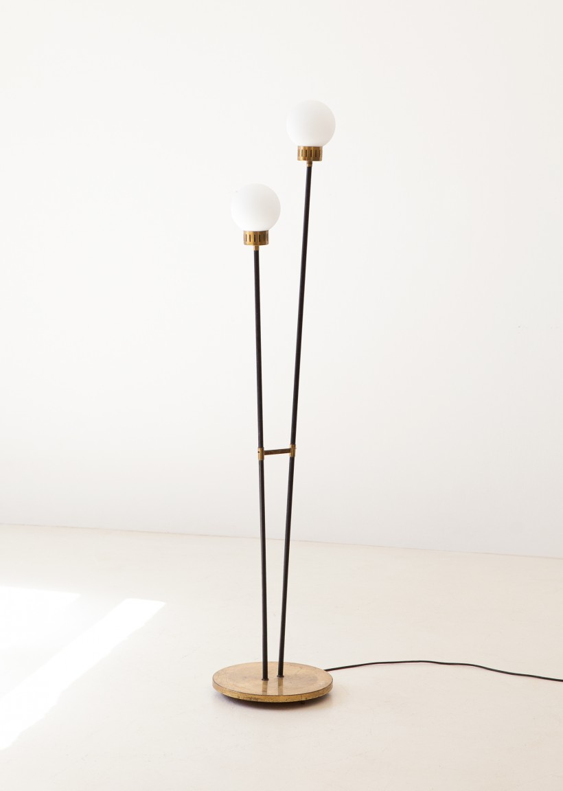 1950s brass and opaline glass base lamp L88