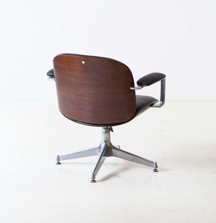 1950s brown leather armchair by Ico Parisi for MIM SE345