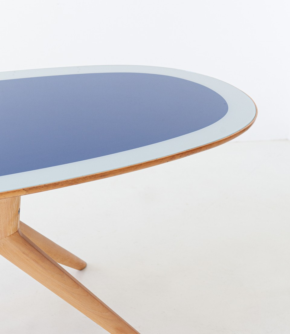 1950s elliptical dining table with blue glass top T89 – No longer available..