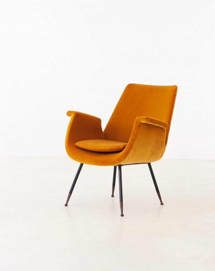 Fully Restored Italian Yellow Velvet Lounge Armchair by Gastone Rinaldi SE316