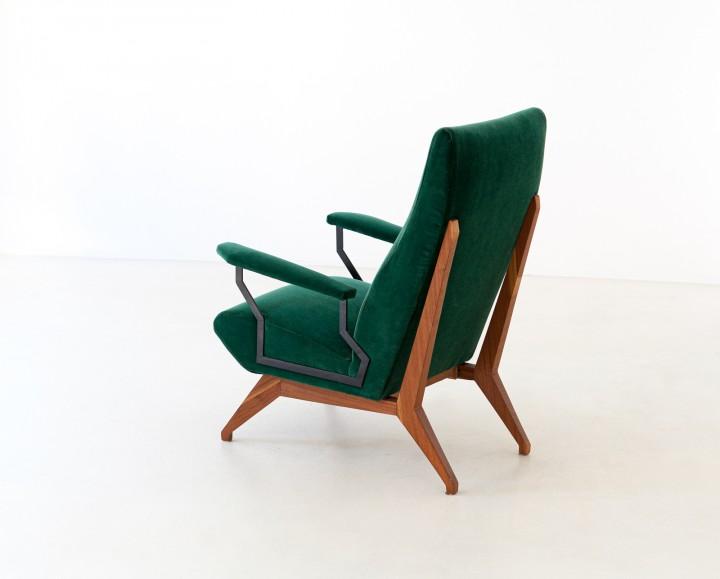1950s Green Velvet and Mahogany Italian Armchair SE290 not available