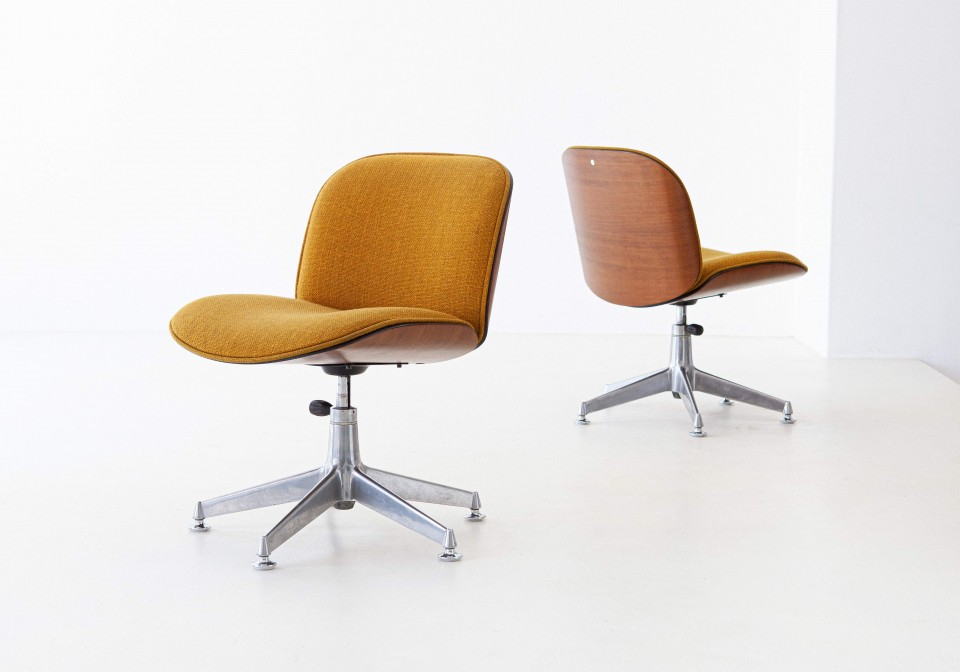 1950s Ico Parisi for MIM walnut swivel desk chairs SE305 – Not Available