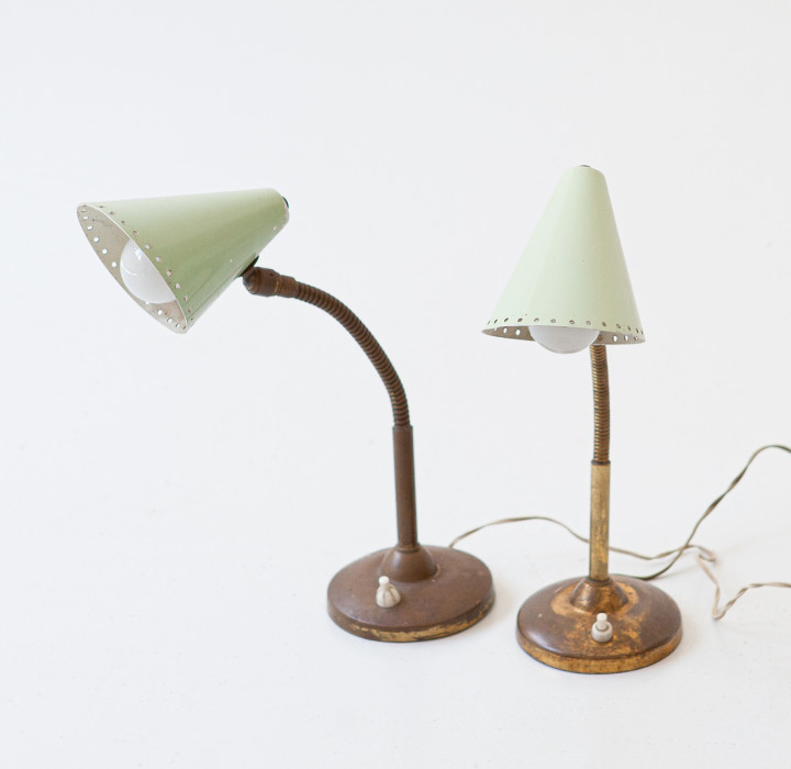 Pair of abat jour in brass with light green shade , italy , 1950s L102