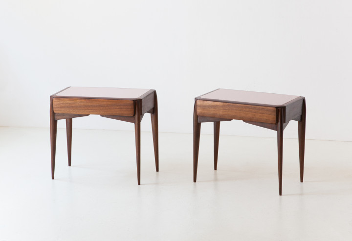 1950s Italian bedside tables with glass top BT95