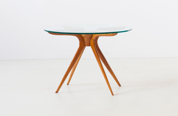1950s Italian beechwood and glass low table T87