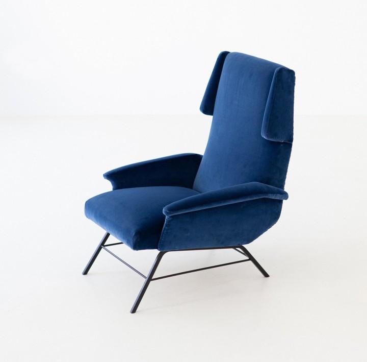 1950s Italian blue velvet lounge armchair  SE304 – Not Available