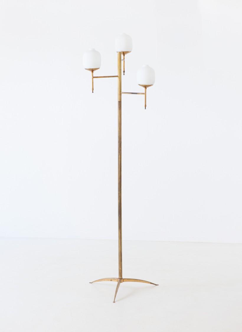 1950s Italian brass and opaline glass base lamp L85