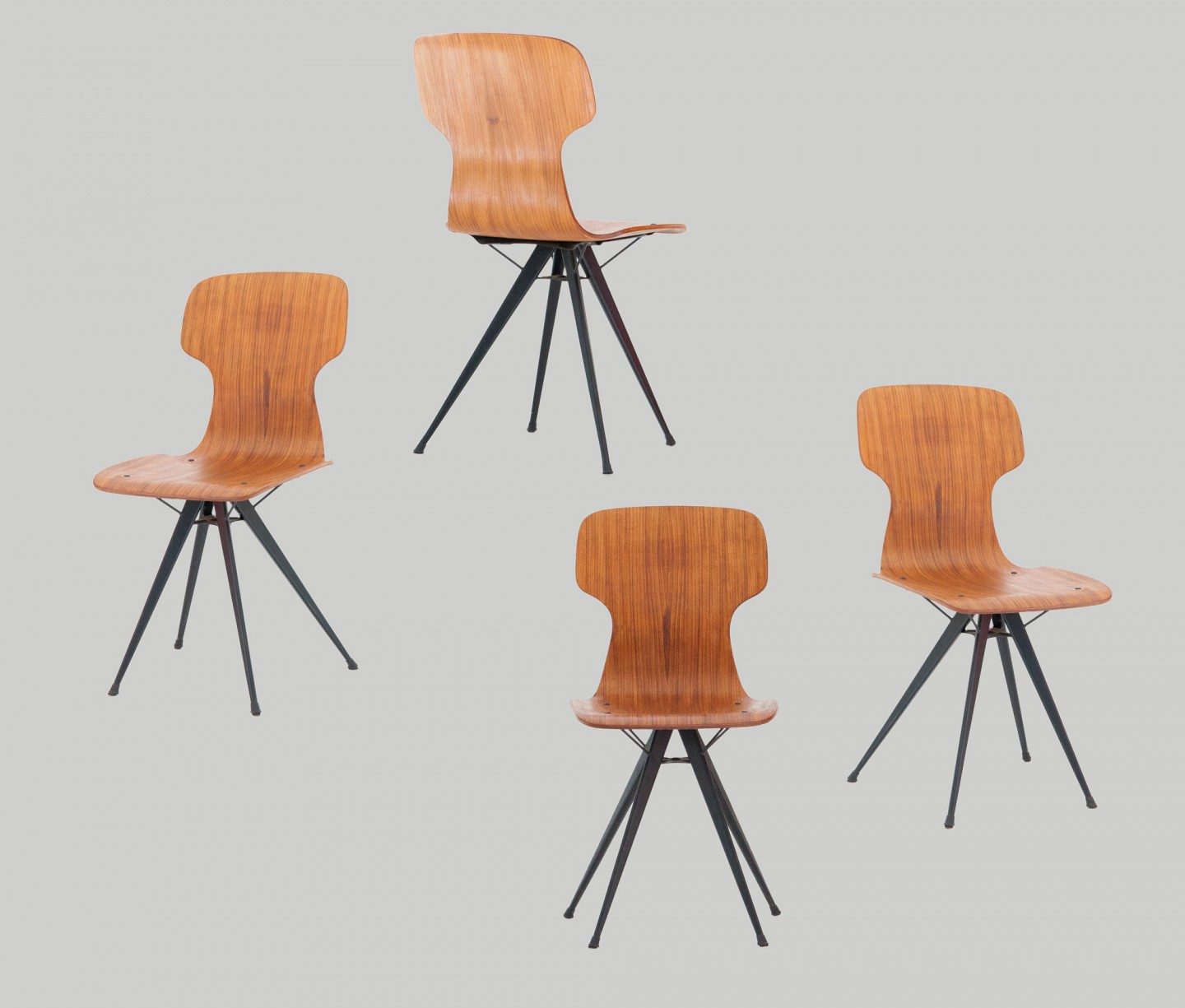 Italian conical Iron legs and curved teak chairs , 1950s  SE280 – not available