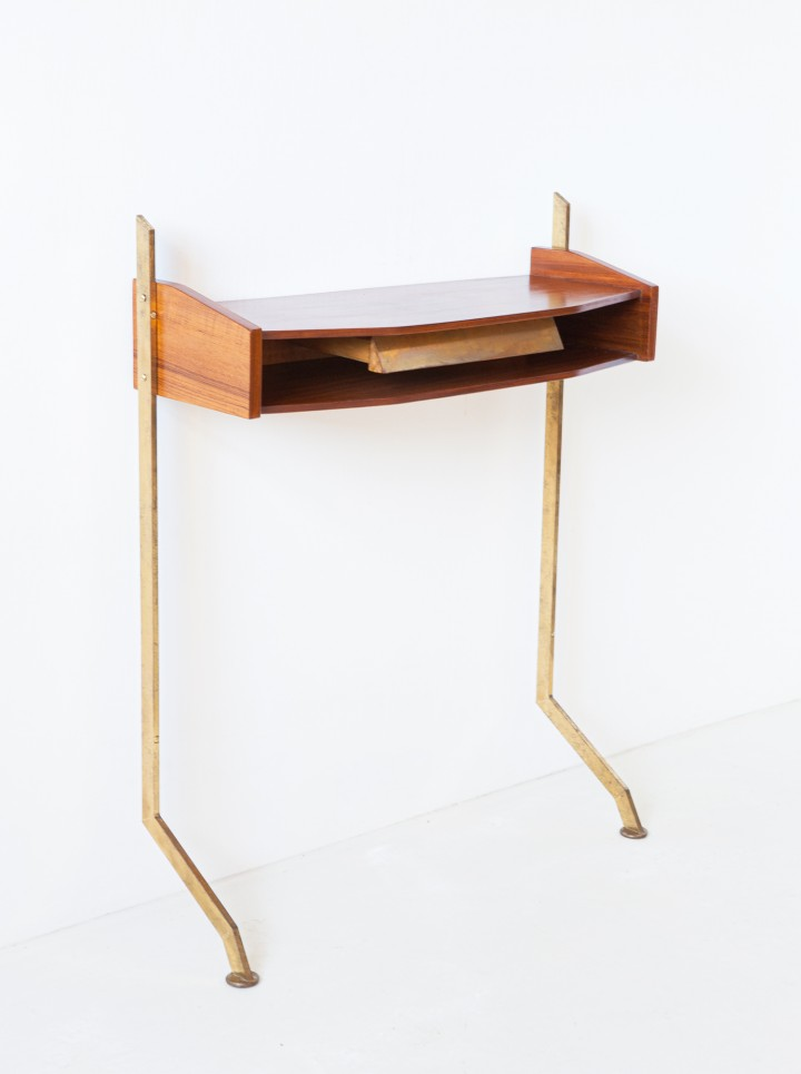 1950s Italian teak and brass console  OF112