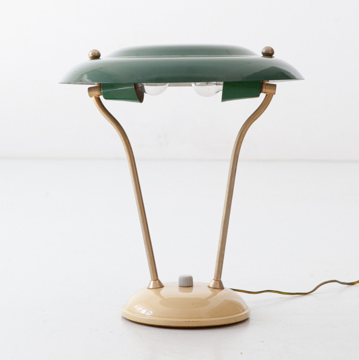 Italian Brass, Green and Cream Table Lamp, 1950s L100