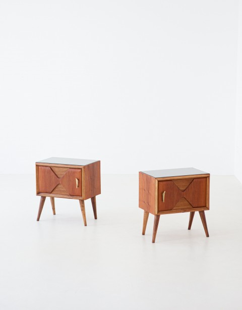 1950s italian modern exotic wood,brass and glass bedside tables – BT81- Not Available