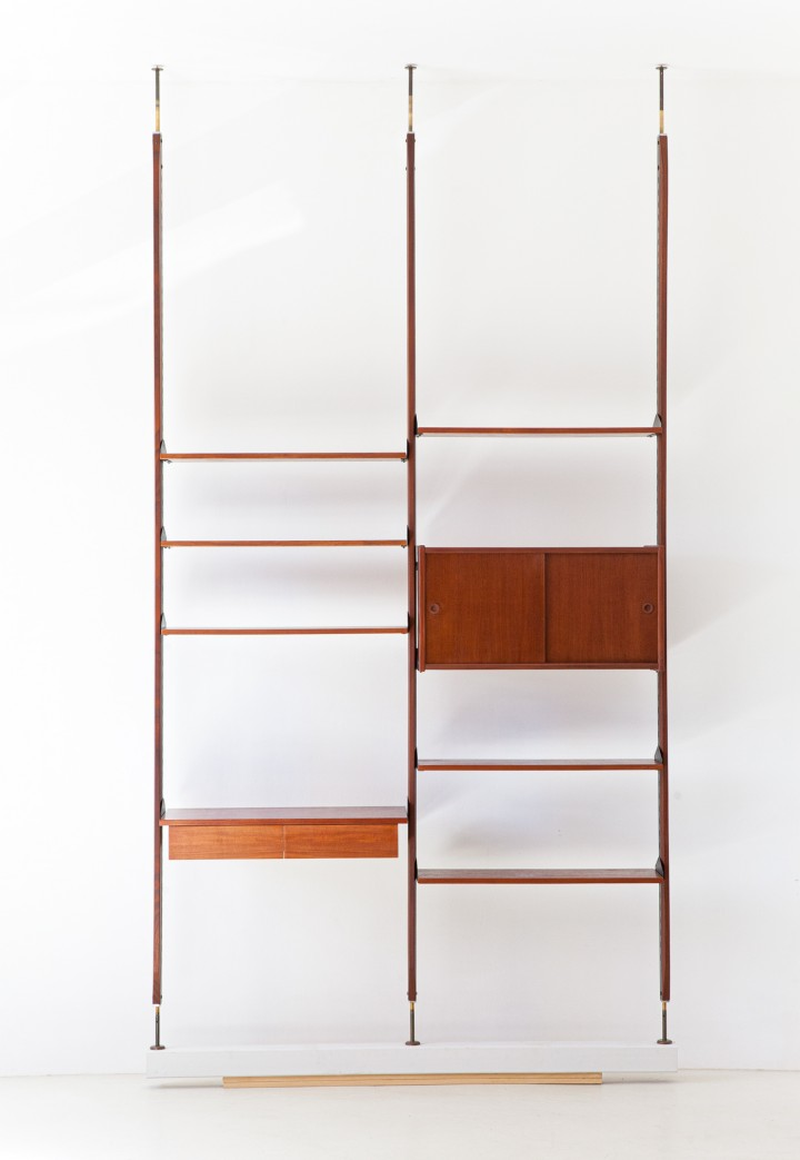 1950s Italian Modern Teak and Brass Floor to Ceiling Wall Unit WU30