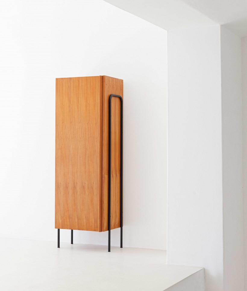 1950s Italian light wood and iron wardrobe cabinet – ST114 – Not Available