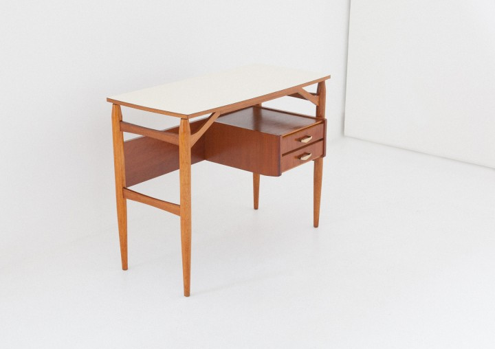 1950s Teak and brass with formica top desk table,   DT31 – NOT AVAILABLE