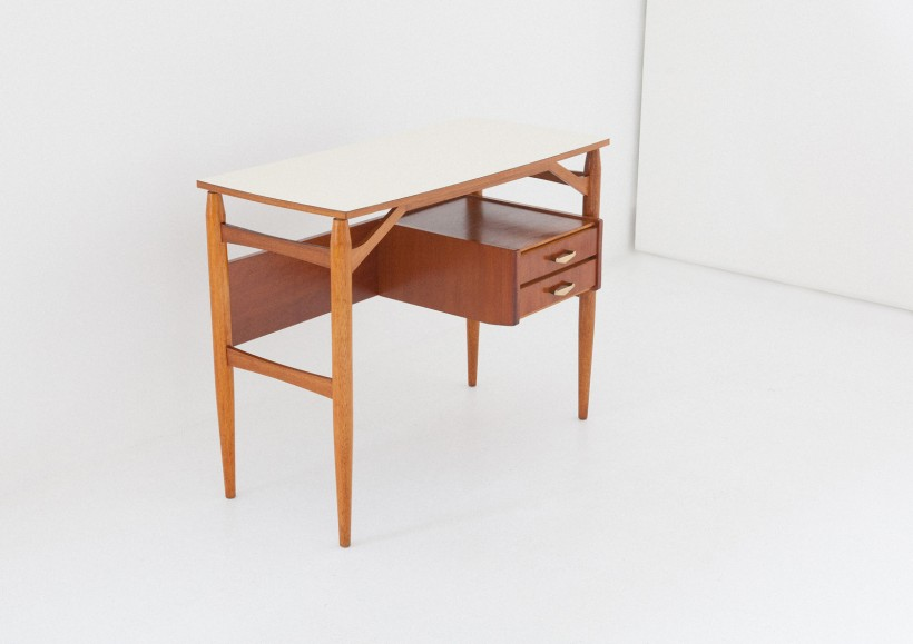 1950s Teak and brass with formica top desk table,   DT31