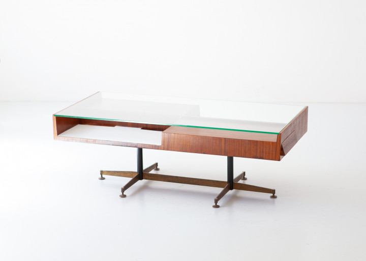 1950s mahogany low table with glass top T92