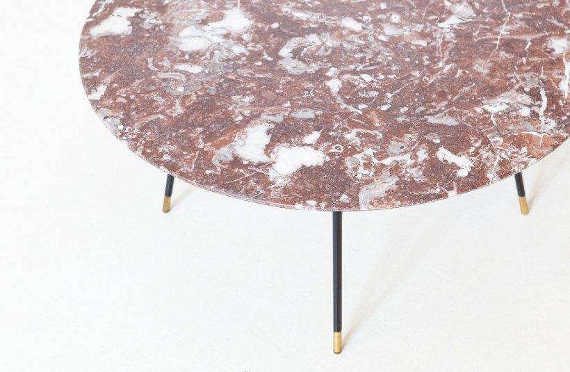 1950s Italian round low table with marble top by Ico Parisi T85