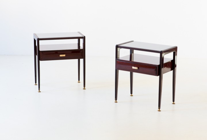 1950s italian nightstands in rosewood with glass top BT85 – No longer available..