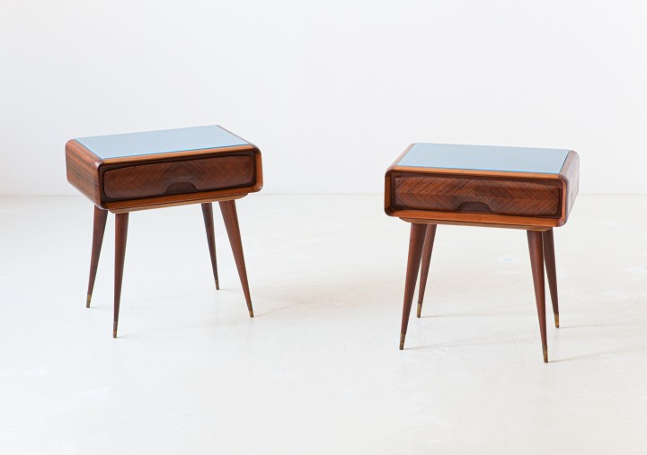 1950s italian nightstands with glass top BT92 – not available