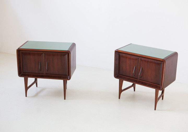 1950s Italian rosewood bedside tables with green glass top BT83 – Not available..