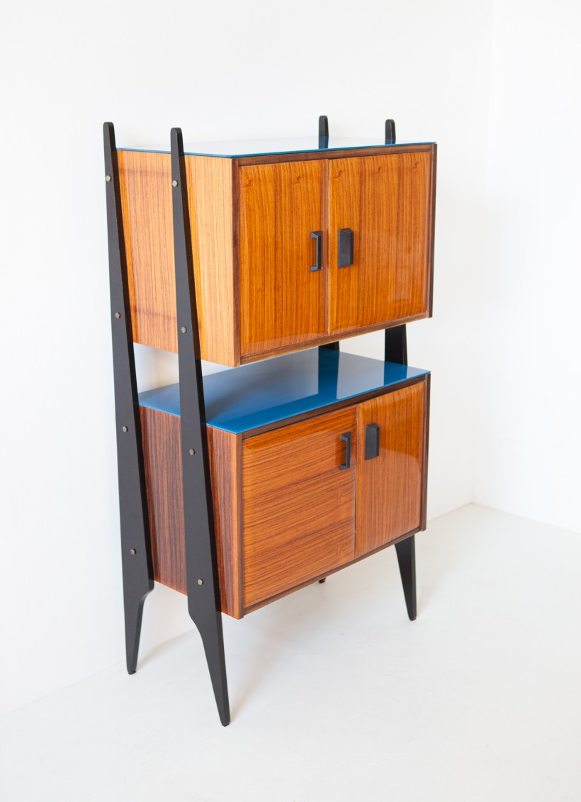 1950s Italian rosewood blue glass and brass credenza ST118