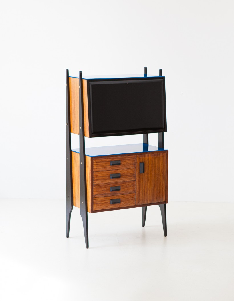 1950s Italian rosewood blue glass and brass credenza with bar ST122