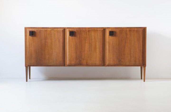 1950s Italian teak and brass three doors sideboard ST117 – NOT AVAILABLE