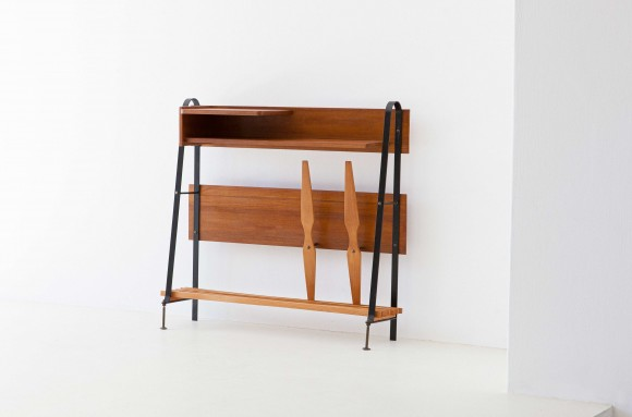 1950s italian teak brass and iron console table OF91 – Not Available