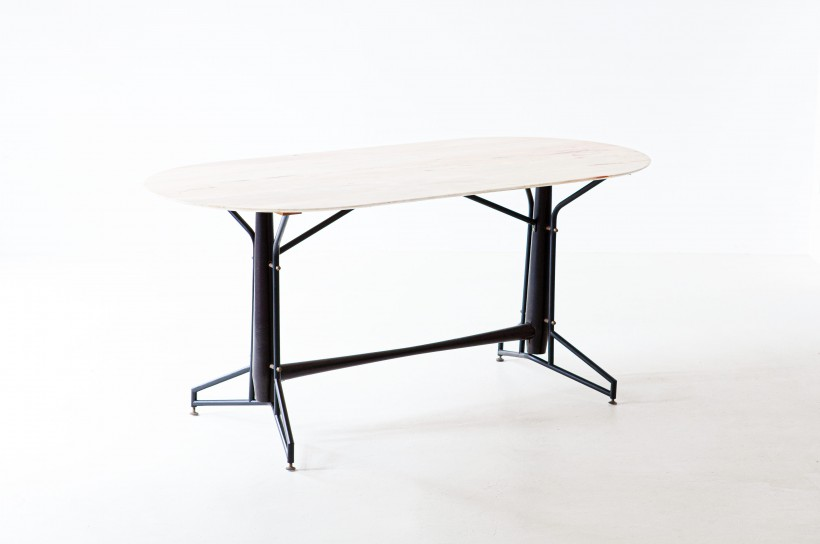 1950s italian wood iron and marble dining table T84