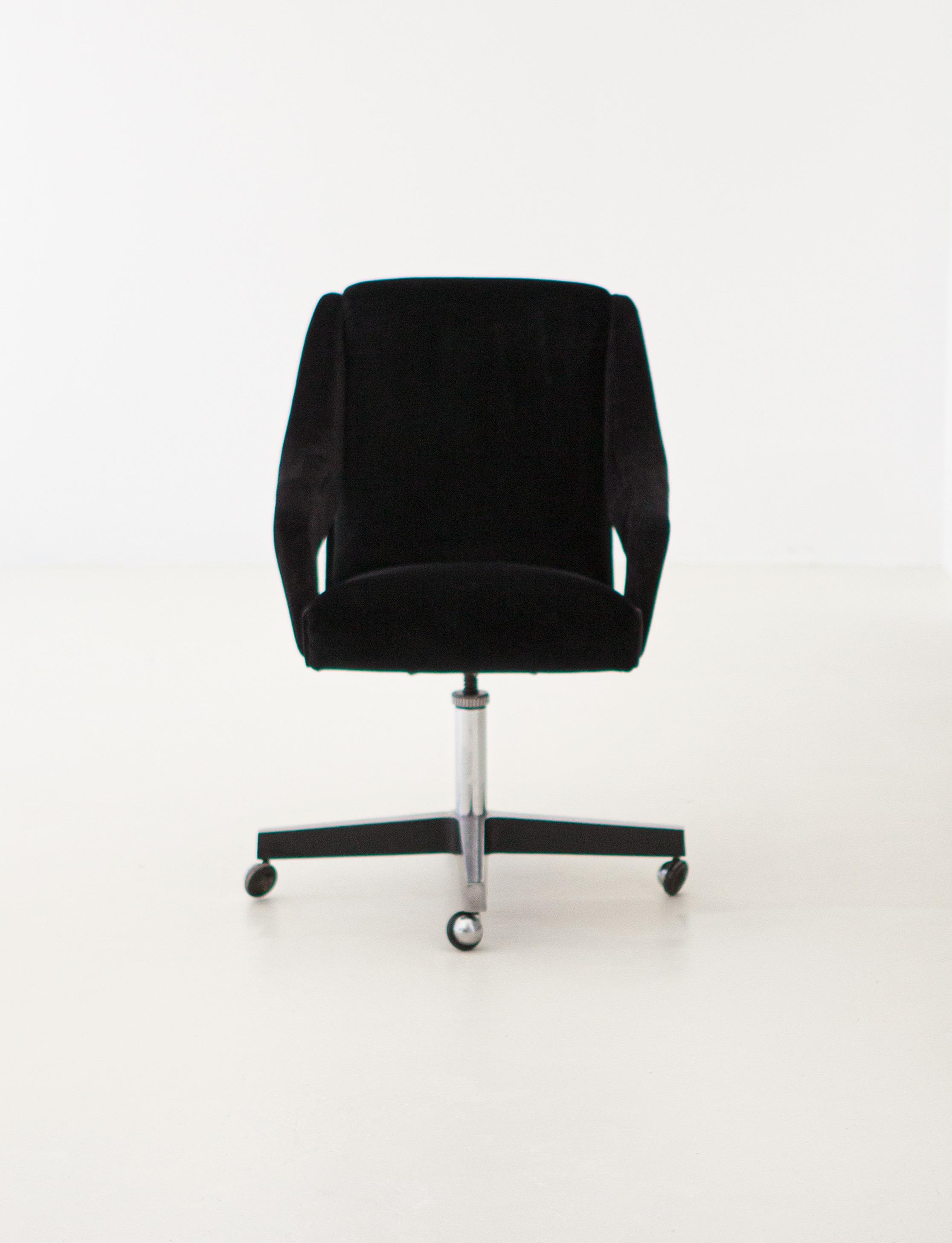 Image of: 1950s Black Velvet Swivel Desk Chair Se301 Retro4m