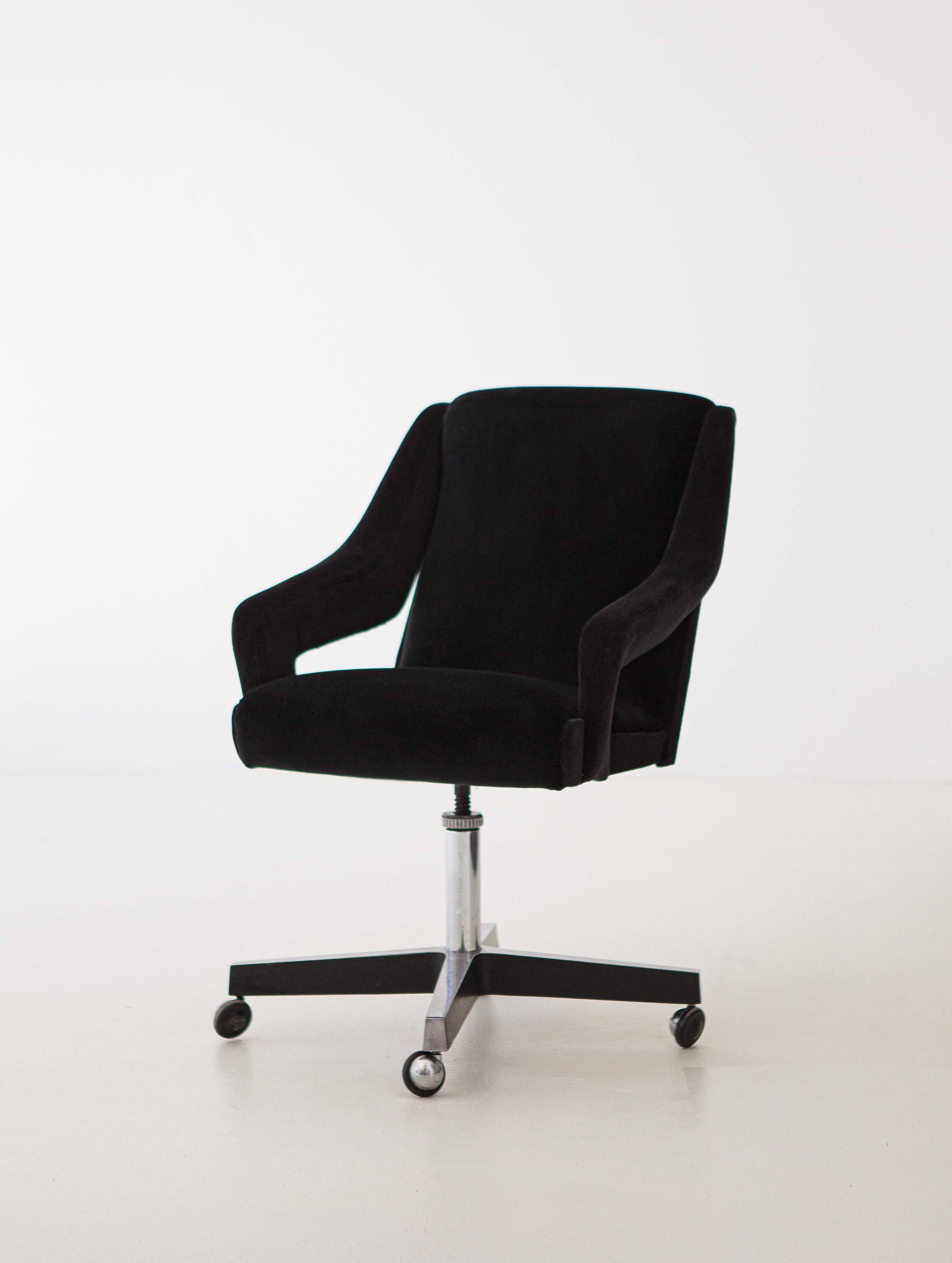 1950s Black Velvet Swivel Desk Chair Se301 Retro4m