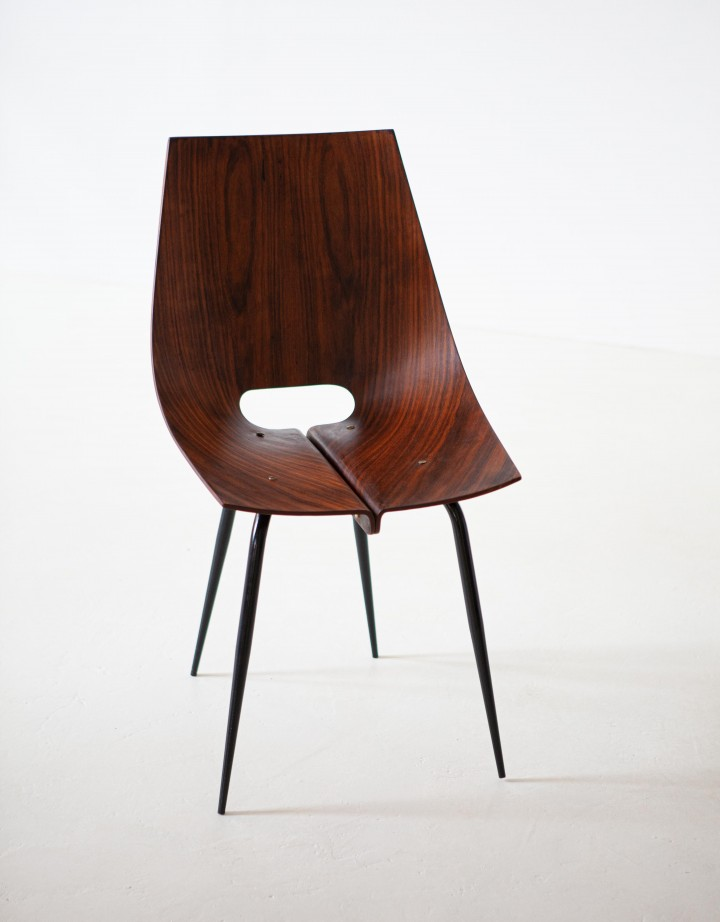 1950s modern curved rosewood chair by Societa Compensati Curvati SE312