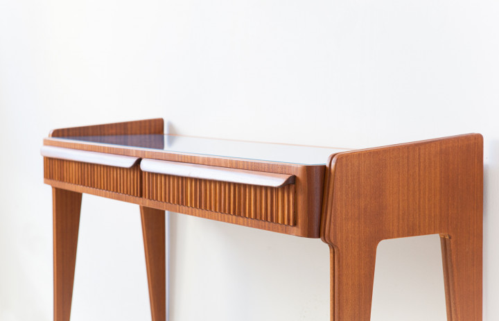 1950s italian mahogany console with blue glass top OF115