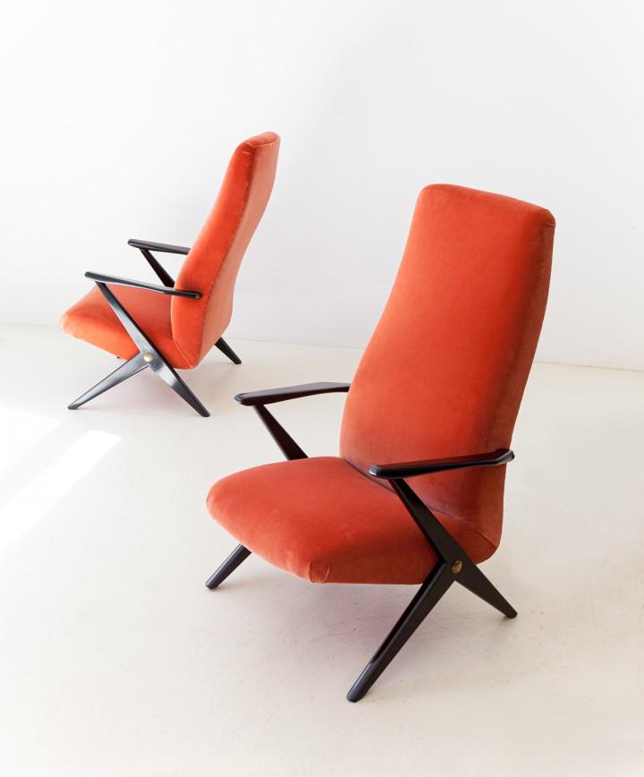 1950s italian rust color velvet lounge chairs SE338