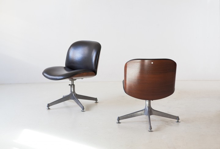 1950s Pair of swivel chairs by Ico Parisi for MIM SE346