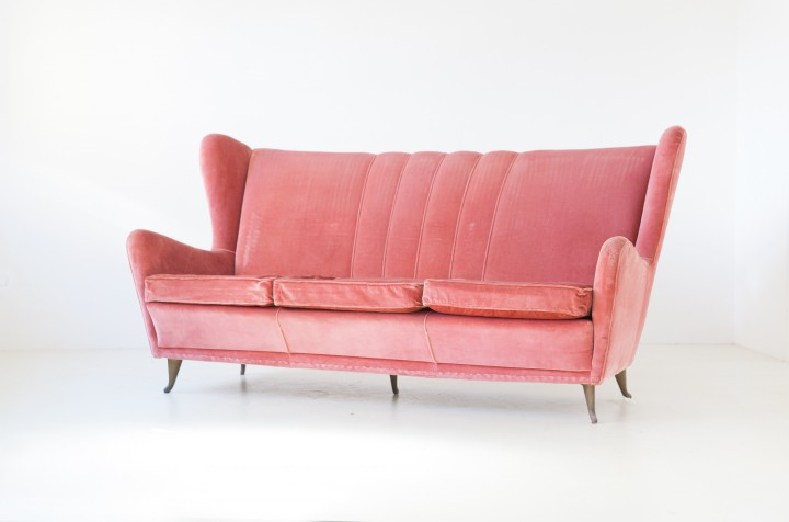 1950s pink velvet three seater sofa by ISA se324