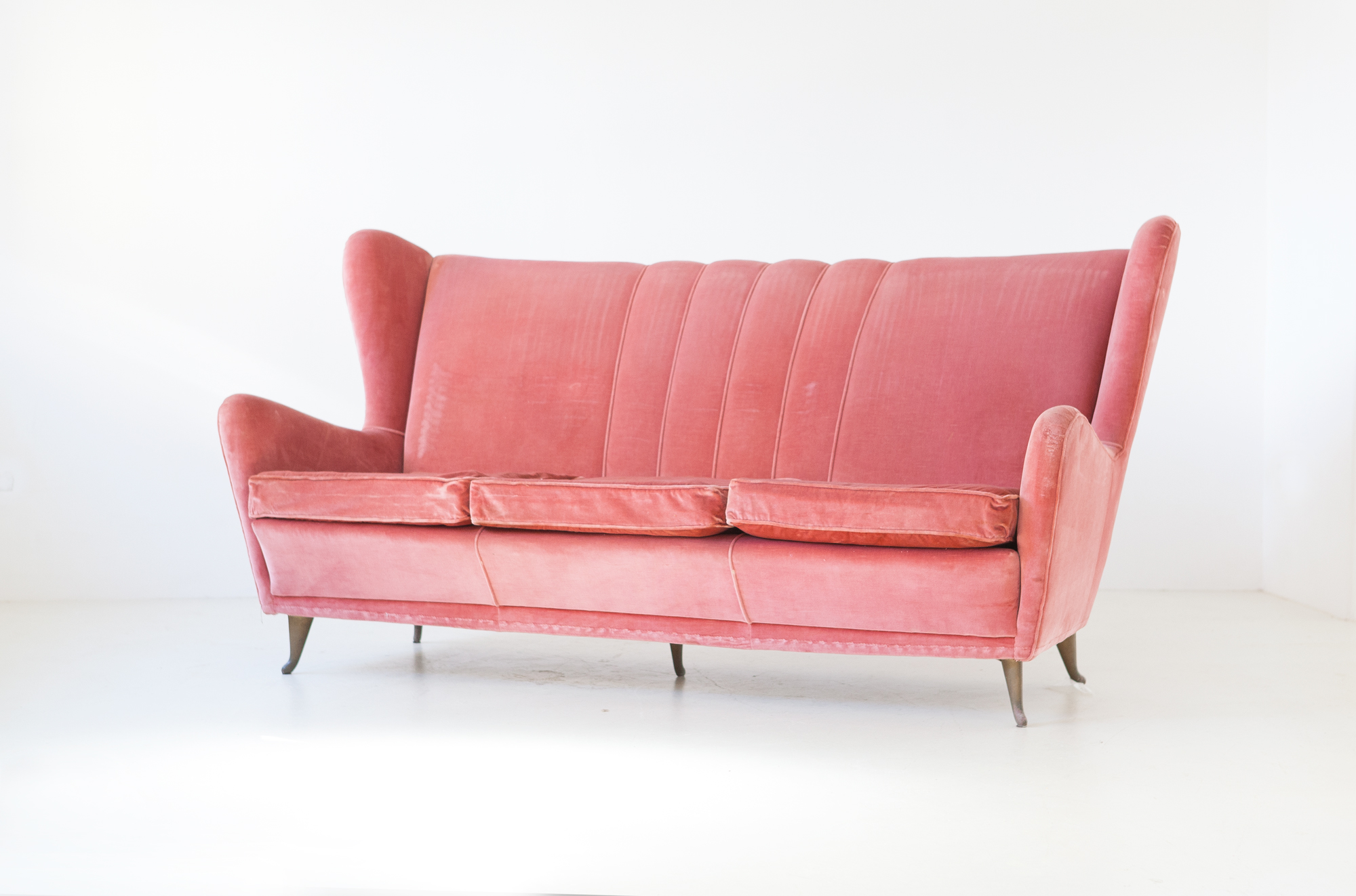 1950s--pink-velvet-three-seater-sofa-by-ISA-4-se324