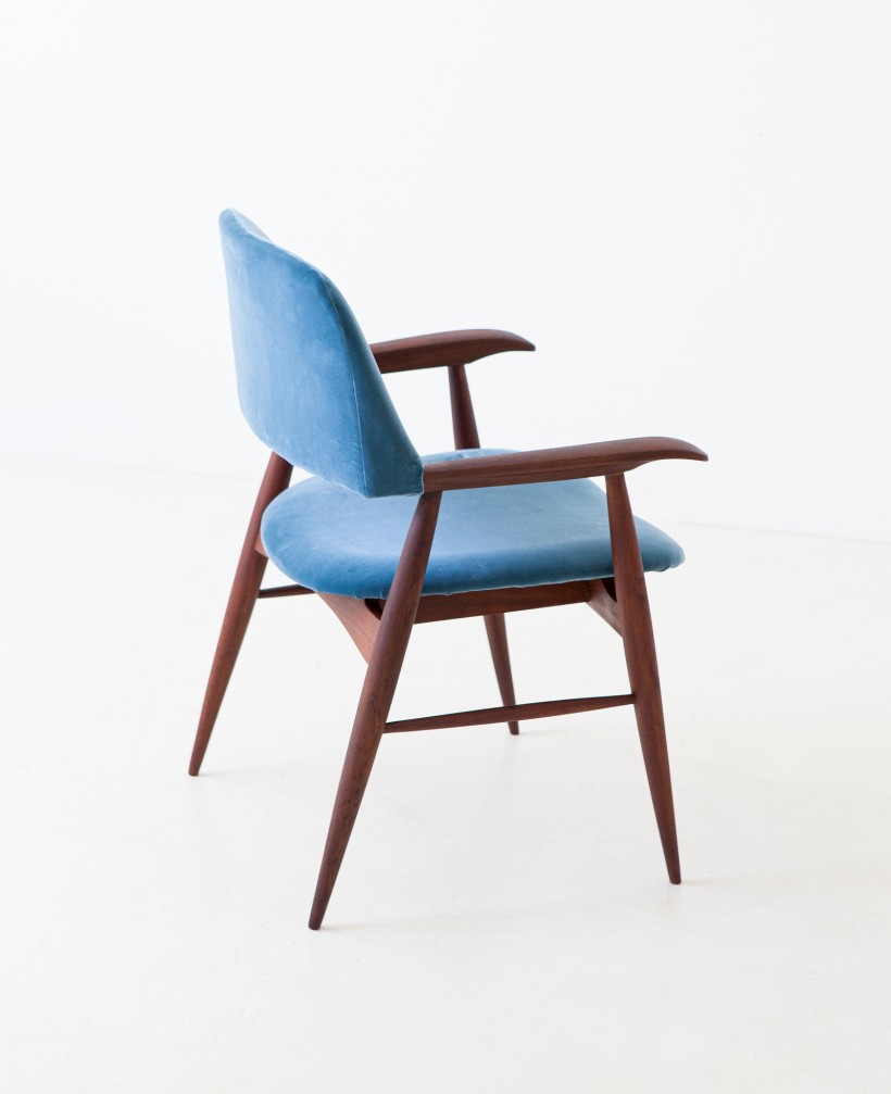 1950s rosewood and blue velvet armchair