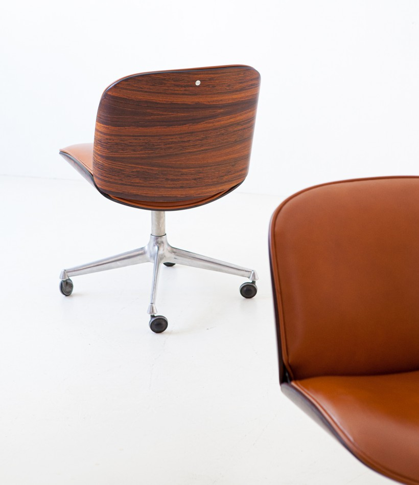 1950s rosewood and cognac leather swivel chair by Ico Parisi for MIM SE328