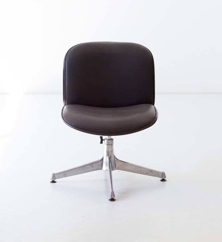 1950s Fully Restored Rosewood and Leather Desk Chair by Ico Parisi for MIM SE 349