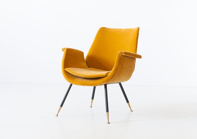 Fully Restored Italian Senape Velvet Lounge Armchair by Gastone Rinaldi SE322